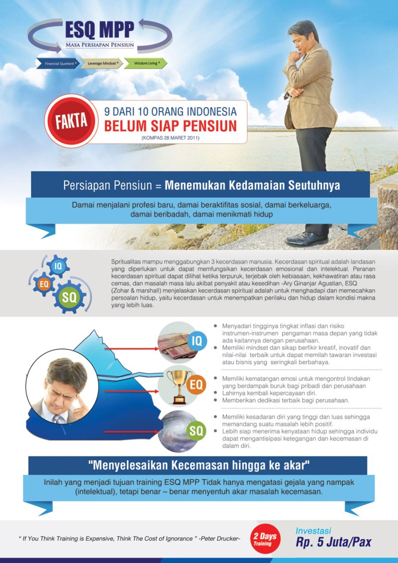 ESQ MPP, Masa Persiapan Pensiun ESQ, Pelatihan Wira Usaha, Workshop Persiapan Pensiun, Pelatihan Persiapan Pensiun, Program Persiapan Pensiun