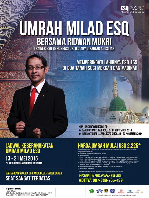 Umroh Bersama Trainer ESQ Ridwan Mukri , Umroh ESQ, Travel Umroh, ESQ Tour Travel, Travel ESQ