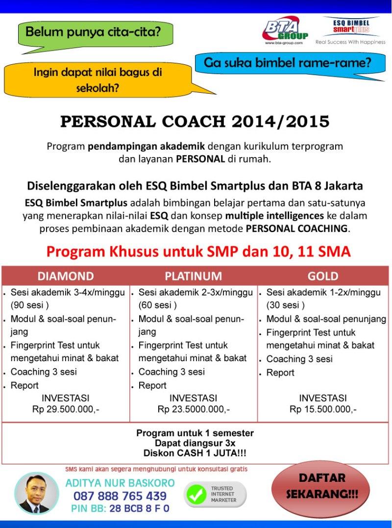 Bimbingan Belajar-Personal Coach SMP SMU Jakarta Selatan-Bimbel Terbaik