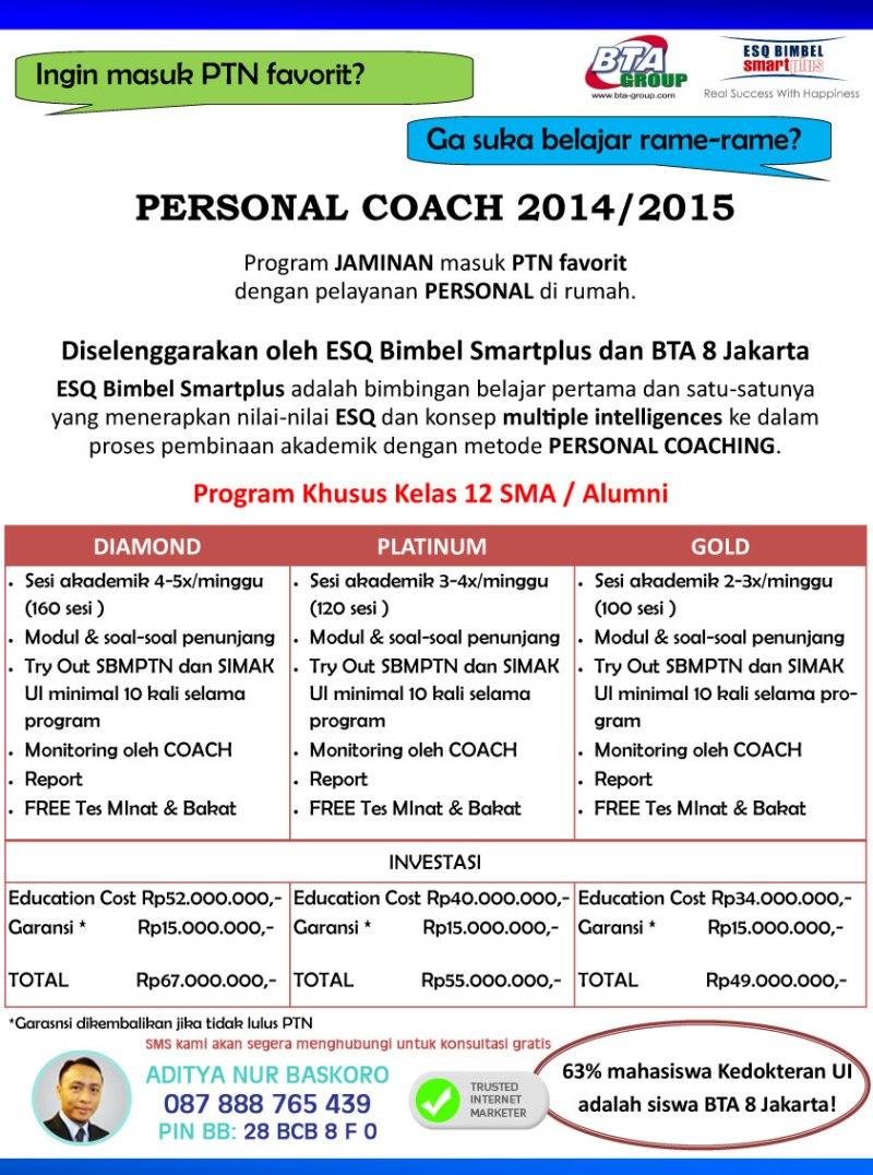 Bimbingan Belajar-Personal Coach-SMU di Jakarta Selatan-Bimbel Terbaik